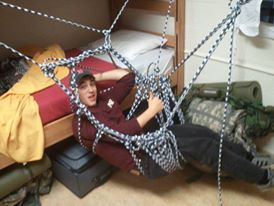 Drunk Mikey Heimall in a homemade hammock made entirely from rope