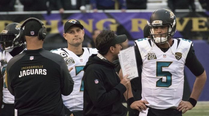 Blake Bortles discussing an option with the coach