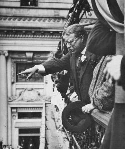 Teddy Roosevelt pointing to the people