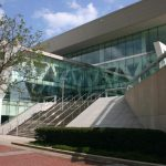 This image shows the front facade and stairway for the Baltimore Convention Center in Maryland.