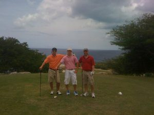 The writer with his brothers golfing