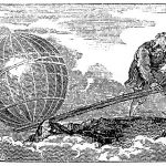 Print of Archimedes using his lever to lift the world.