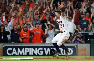 Astro's player celebrates. World Series bound