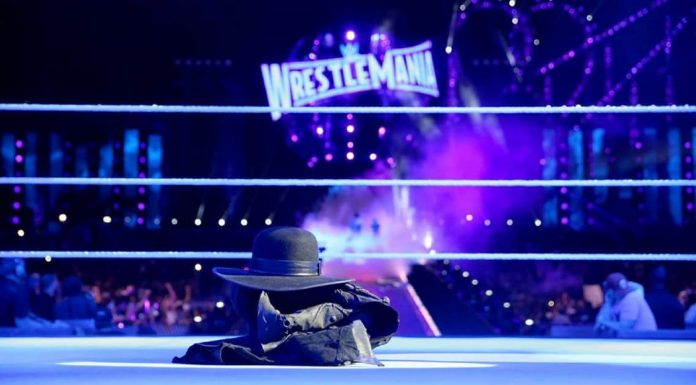 Shot of Undertakers' hat and jacket in the middle of the Wrestle Mania ring.