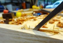 Chopping a mortise with a 1/4 chisel.