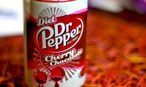 A close up picture of Diet Dr. Pepper Cherry Chocolate