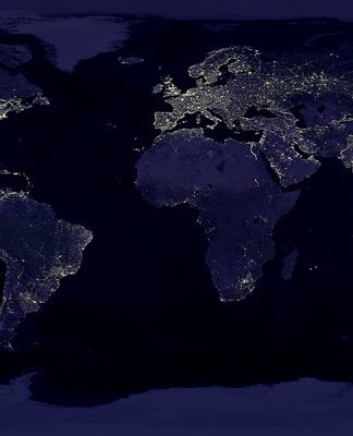 This image shows Earth lights at night from space depicted on a Mercator Map.