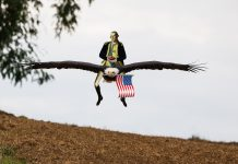 Washington Riding an Eagle eating Chili