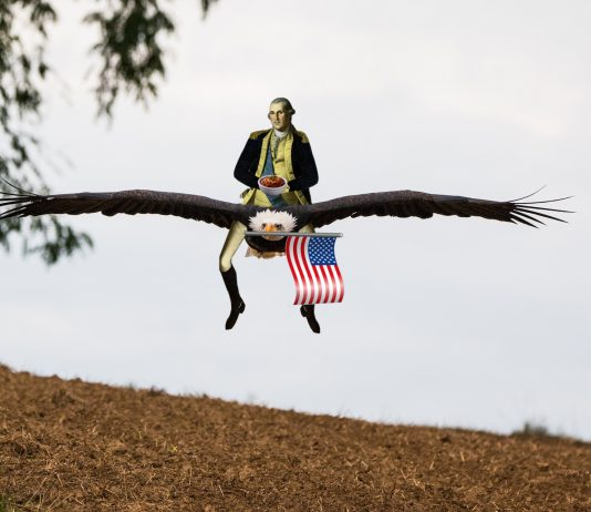 Washington Riding an Eagle eating Chili
