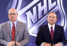Picture of Gary Bettman during a NHL news conference