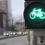 The image shows a biking light on a traffic control device.