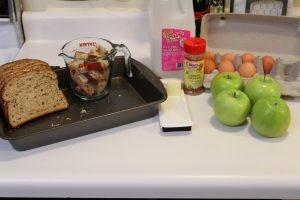 The ingredients from the recipe needed for Baked Apple French Toast