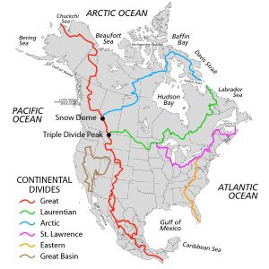 This map shows the different continental divides within North America.