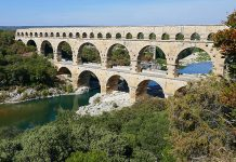 The Pont Du Gard aqueduct in Italy.