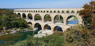 The Pont Du Gard aqueduct in Italy.