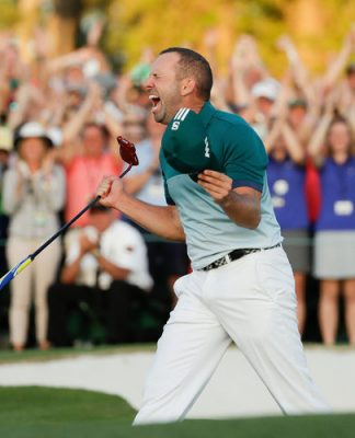 Sergio Garcia screams as he wins the Masters.