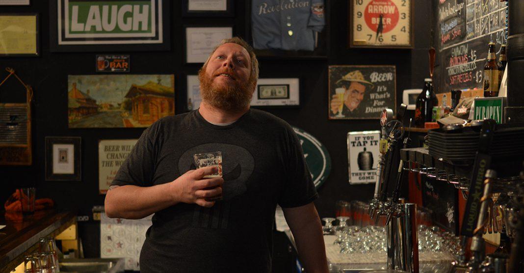 Drew, bar, beer, laugh, taps, pint, lager, microbrew