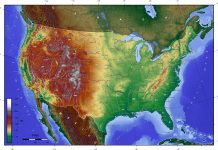 Topographic map of the United States. - seawall