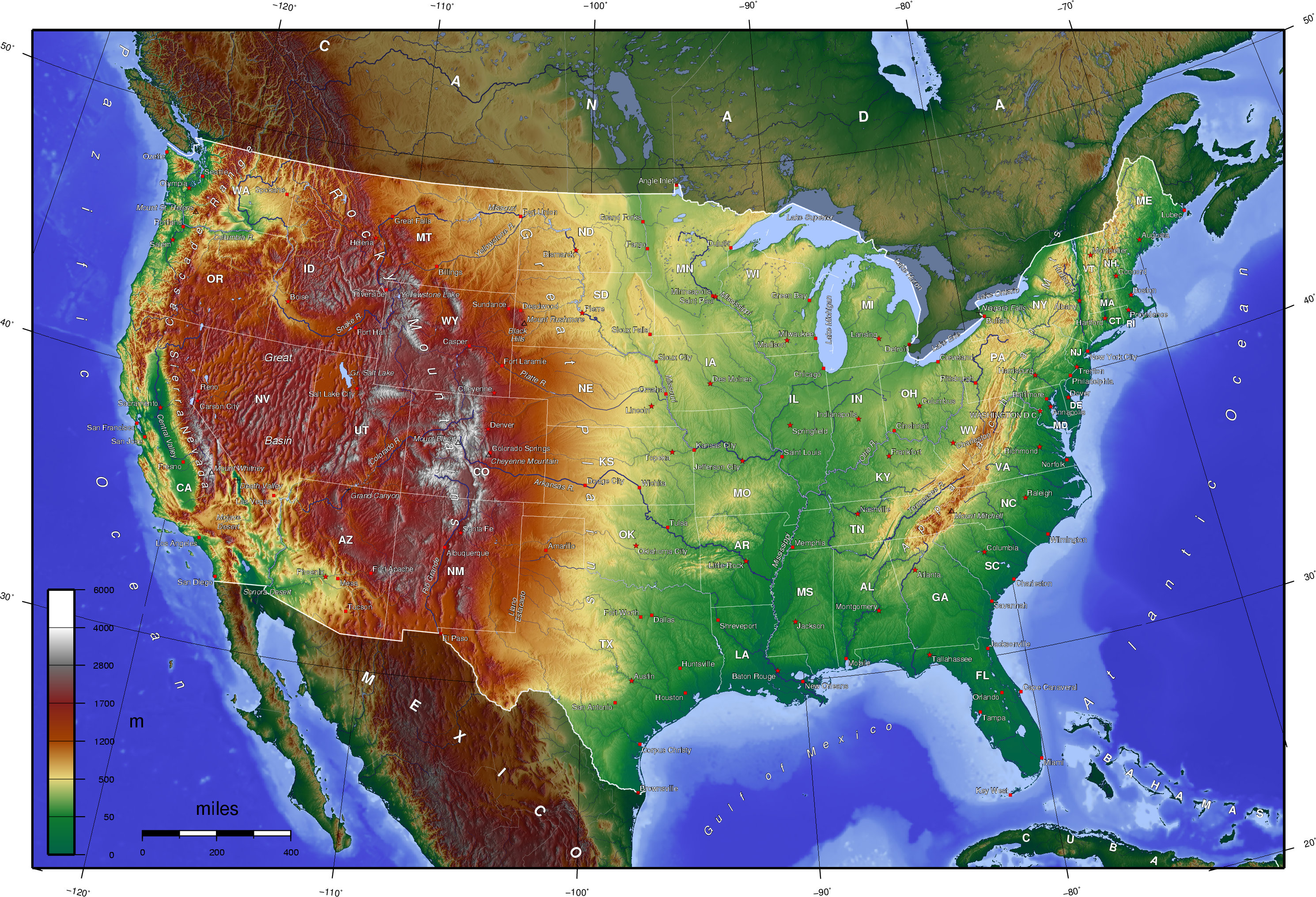 Seawall A Trillion Dollars Doesnt Sound So Bad MING - Topgraphical map of us