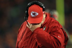 Andy Reid holding his face in a possible overreaction
