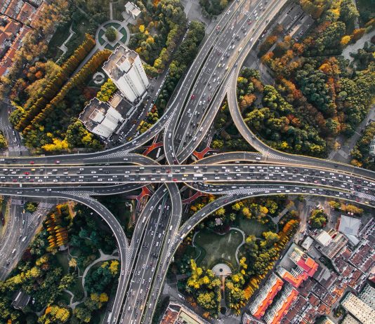 This image shows traffic along a highway system from above.