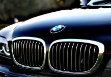 close up of black bmw grille