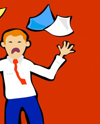 Cartoon of a man dealing with stress