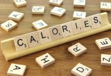"""Calories"" spelled with scrabble pieces"