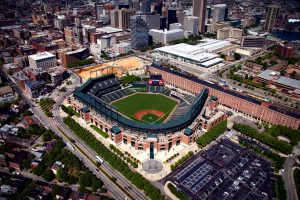 This image shows Oriole Park at Camden Yards from an aerial advantage. The warehouse is visible along the right side of the image with parts of the Baltimore skyline filling out the background.