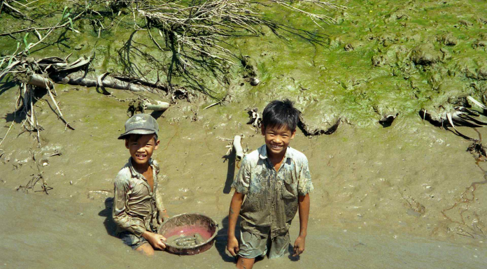 two brothers getting muddy in a river