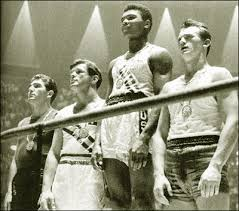 Muhammad Ali standing as the victor at the 1960 Rome Olympics there ever was
