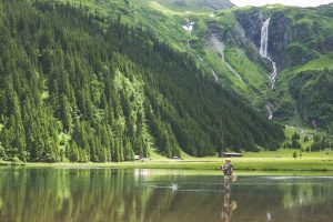 Fly fisherman fishing surrounded by green mountains.
