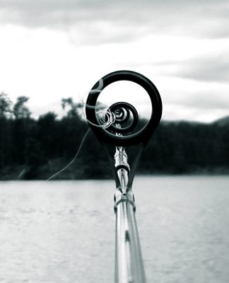 Looking down a fishing rod.