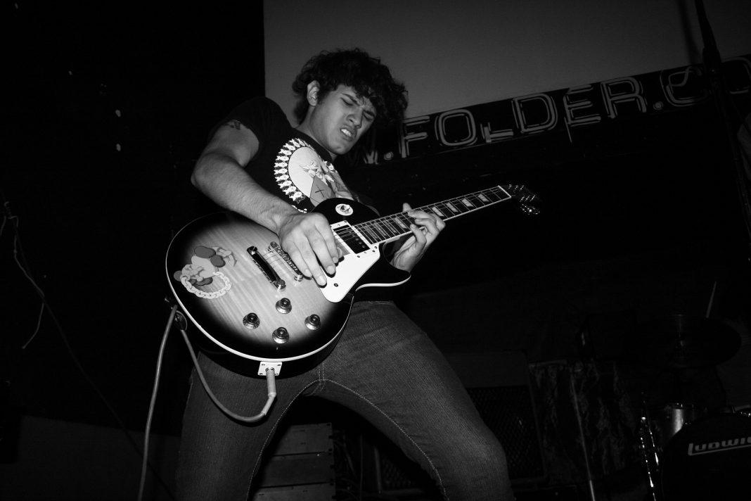 Rock musician performing