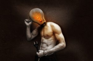 A digital graphic of a surreal light bulb man morph thinking.