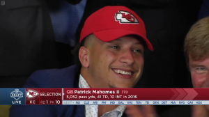Patrick Mahomes smiling after NFL Draft selection to Kansas City Chiefs