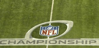 NFL Championship Round Logo imprinted on a football field
