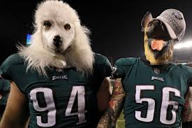 Two Eagles players with their heads replaced by dog heads