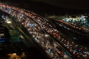 Picture showing traffic on a highway at night