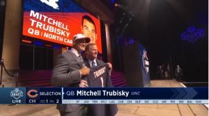 Mitch Trubisky on the NFL draft stage